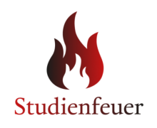 Logo des Studienfeuers: Rot-weiße Flamme