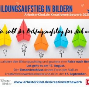 Grafik für den Kreativwettbewerb mit Papierfliegern und allgemeinen Infos. (Grafik: ArbeiterKind.de)