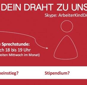 """Flyer """"Dein Draht zur Sprechstunde"""" mit den Infos jeden 2. Mittwoch im Monat von 18 bis 19 Uhr über Skype mit ArbeiterKindDA"""