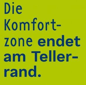 """Text aus einem Flyer: """"Die Komfortzone endet am Tellerrand"""" (Grafik: kulturweit)"""