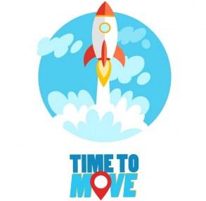 Kampagnenbild von Time to Move mit einer Rakete, die gerade abhebt.