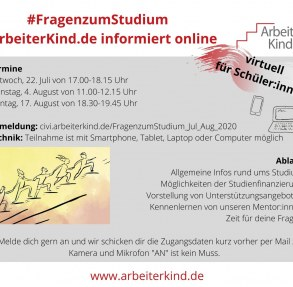 Flyer #FragenzumStudium mit den Terminen, also 22. Juli, 4. August und 17. August